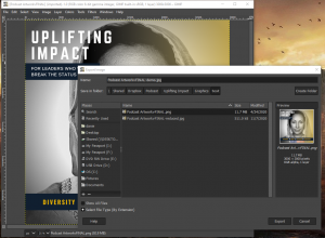 Screenshot of GIMP's export menu