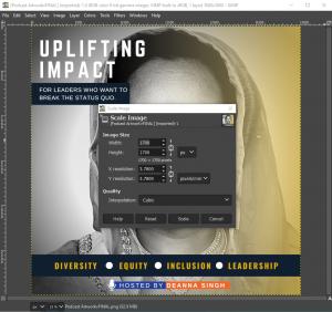 Screenshot of GIMP's scale image menu